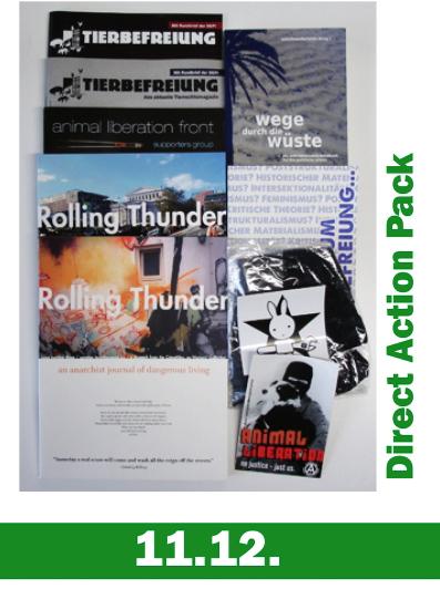 Direct Action Pack mit Ausgaben der Tierbefreiung, von rolling thunder, Wege durch die Wüste und einiges mehr.