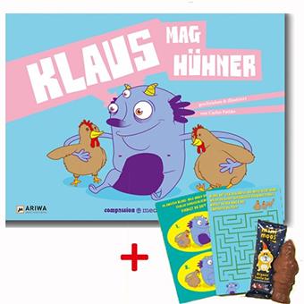 Klaus mag Hühner ist das neue Kinderbuch für Veggie-Kids von compassion media - hier abgebildet mit den Bonus-artikeln für die ersten 50 Bestellungen