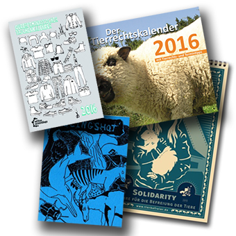 Hier seht ihr die neuen Kalender für 2016_ Slingshot Tachenkalender, Queerfeministischer Taschenkalender, tierbefreier Wandkalender und ARIWA Wandkalender