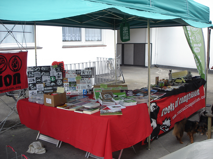 View on our new stall, with books, vegan food and much more.