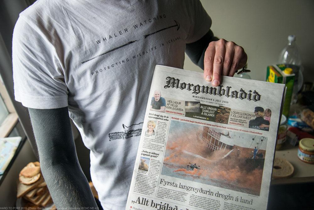 Artikel im Morgunblaþiþ anlässlich der Aktion von 'Hard to Port'