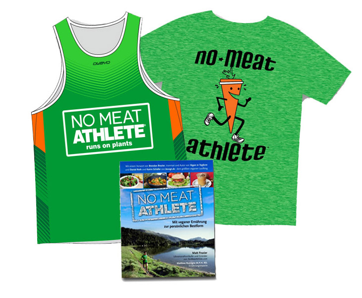 picture shows the No Meat Athlete book, jersey and T-Shirts