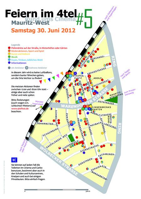 Plakat des 4tel-Festes Münster. Auf einem Stadtplan sieht man alle Orte, an denen etwas stattfindet.