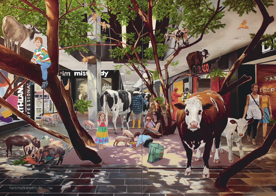 Picture from Hartmut Kiewert: Inside a Mall: People are shopping, but there are also cows, goats and birds in the mall