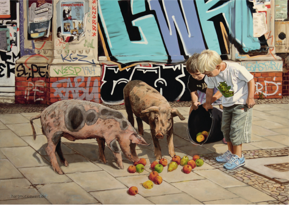 Picture from Hartmut Kiewert: two children feeding pigs with apples