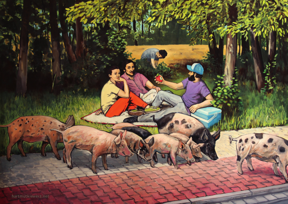 Picture from Hartmut Kiewert: Picnix next to a street, with humans and non-human animals together