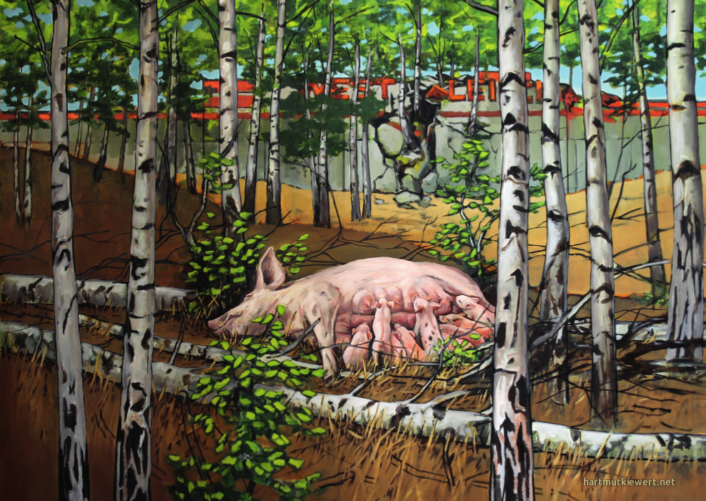 Picture from Hartmut Kiewert: A sow is feeding her children in the woods next to a slaugtherhouse ruin.