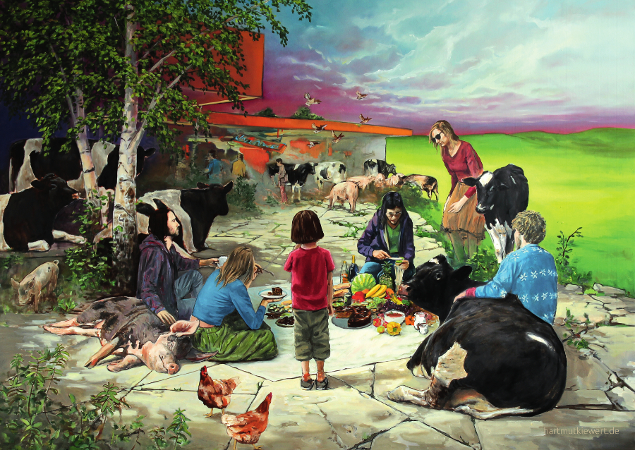 Picture from Hartmut Kiewert: Picnic with humans, pigs, cows and chicken