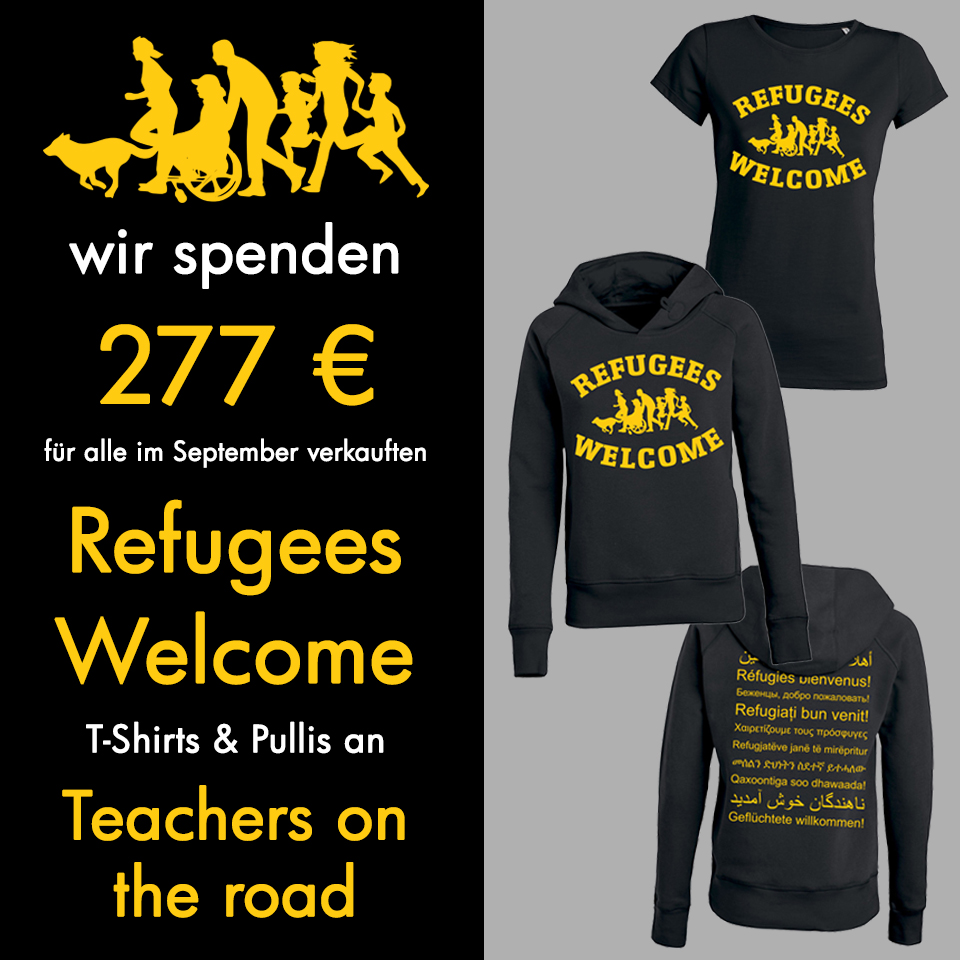 roots of compassion spendet 277 € aus dem Verkauf der Refugees Welcome Artikel an Teachers on the Road