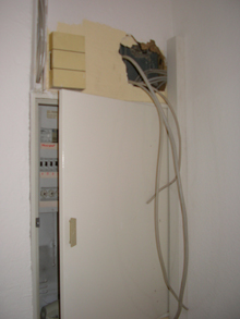 cable tangle above the fuse box