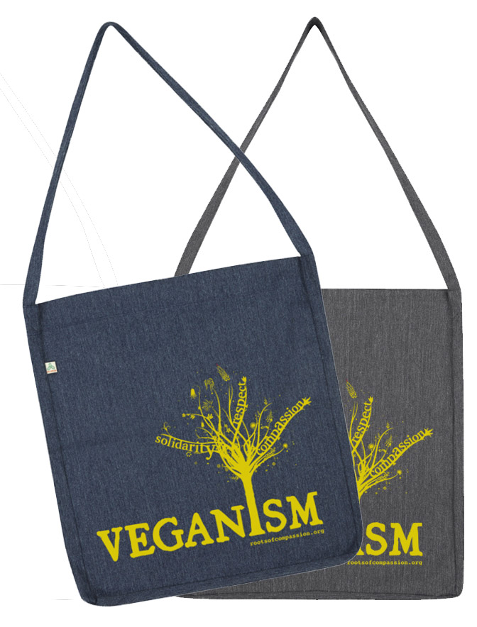 The 'Veganism Tree'-Design can be found on two new shopping bags now: grey and marine blue - the imprint is yellow again.
