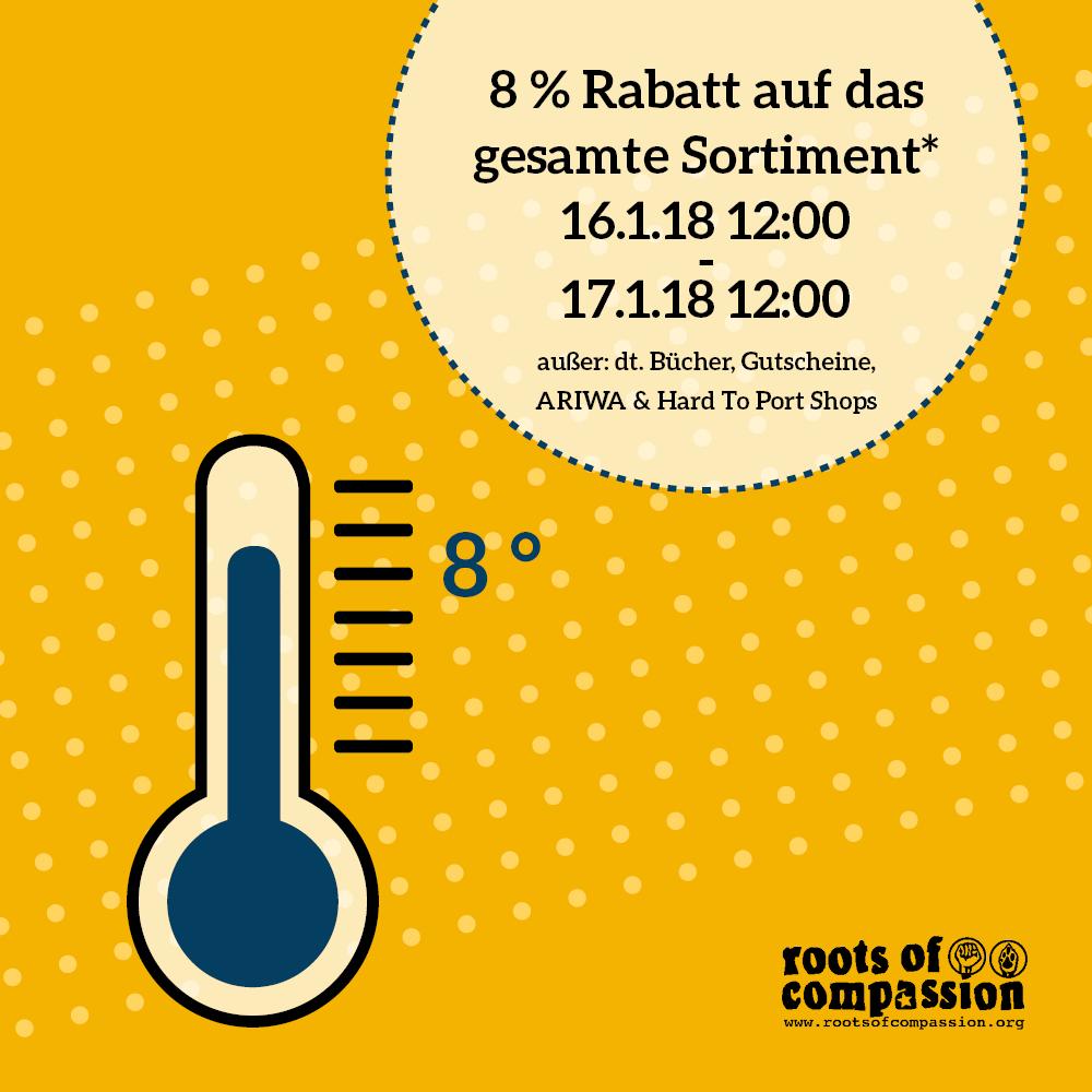 Thermometer mit Hinweis auf unsere Rabattaktion