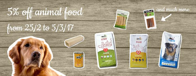 This week: 5 % off animal food