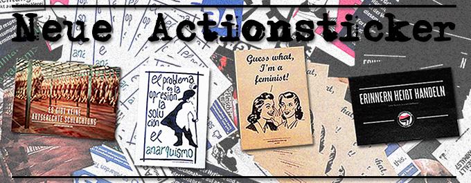 Bild mit den vier neuen Actionstickern zu den Themen 'Artgerechte Schlachtung', 'Anarchismus', 'Feminismus' und 'Antifaschismus'