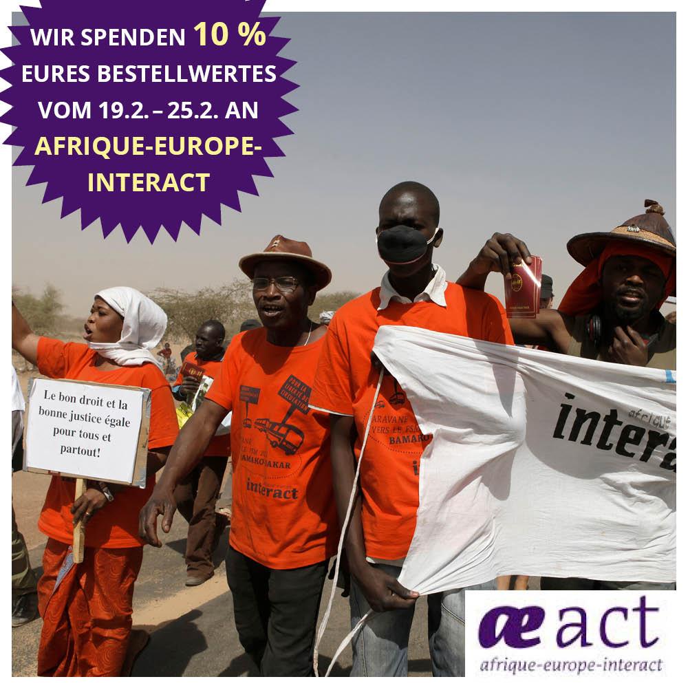 Aktionsbild für die Spendenaktion. Auf dem Foto sieht man neben dem Amkündigungstext demonstrierende Menschen in aai-Shirts