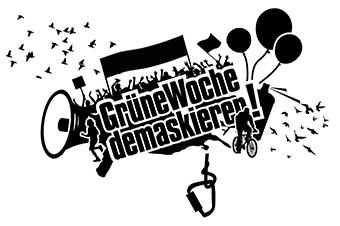 Logo des Bündnisses 'Grüne Woche demaskieren'