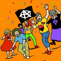 Coverausschnitt von 'Anarchismus Hoch 3' mit tanzenden Menschen