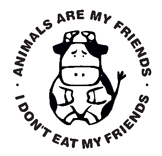 Picture with a cow surrounded by 'Animals are my friends. I don't eat my friends'.