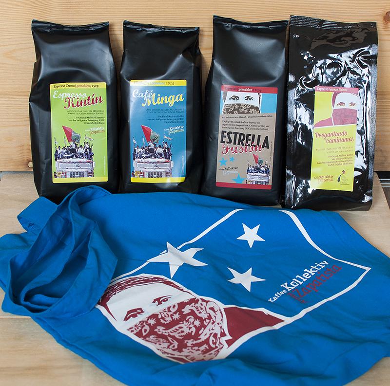 4 Kaffeesorten und eine blaue Tasche von Aroma Zapatista