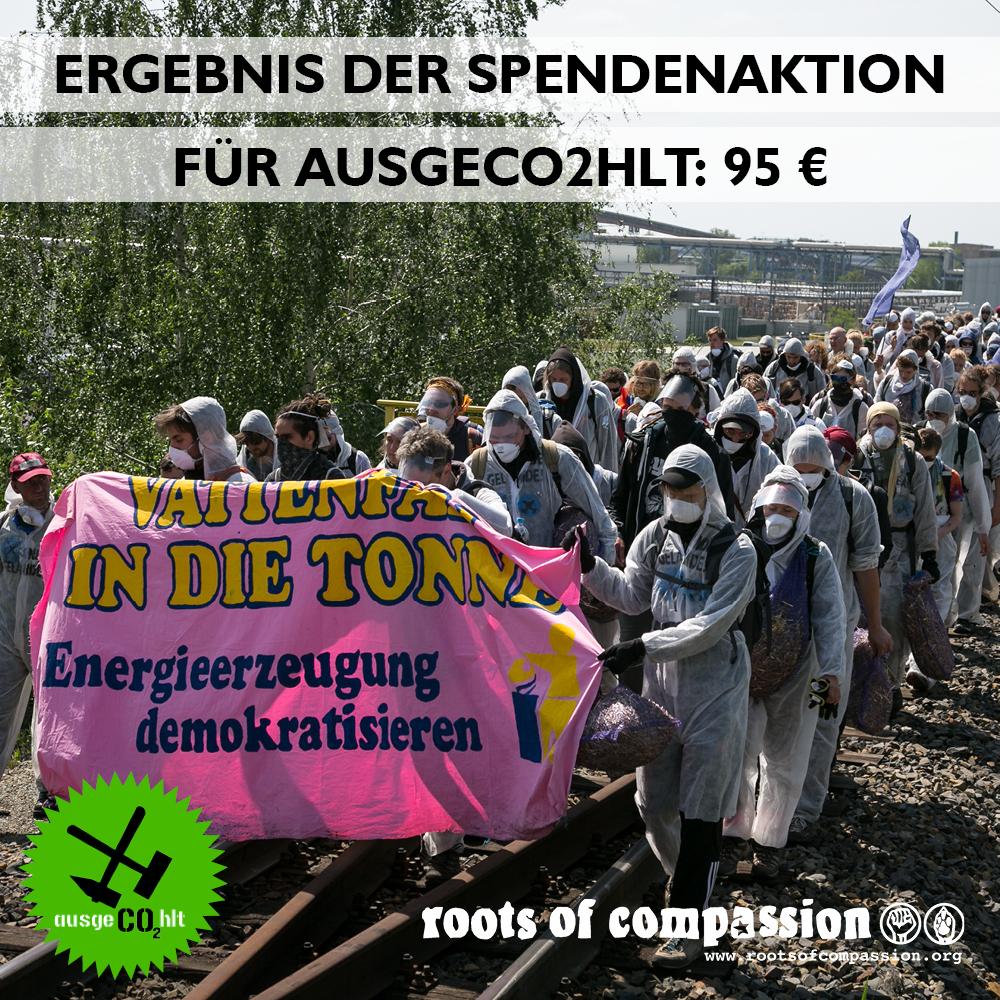 Bild von einer ausgeCO2hlt-Aktion und das Spendenergebnis von 95 €