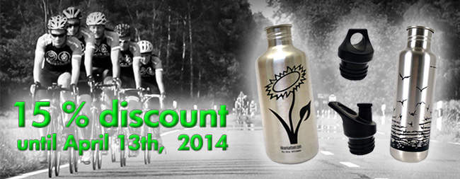 15 % discount on our vegan water bottles