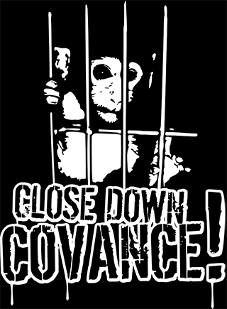 Picture of a monkey and the demand to close the Covance vivisection labs