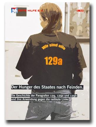 """Abbildung des Titelbildes, eine Person trägt ein T-Shirt, auf dem Rücken ist der Schriftzug """"wir sind alle 129a"""" sichtbar"""