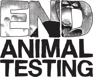 End animal testing - im Hintergrund der Schrift sieht man einen Affen im Tierversuch
