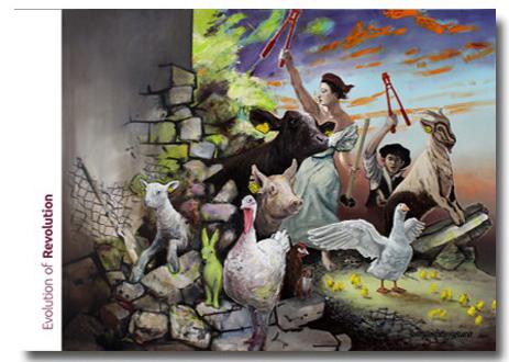 Abbildung Posters evolution of revolution, zwei Menschen mit Bolzenschneidern, davor befreite Tiere