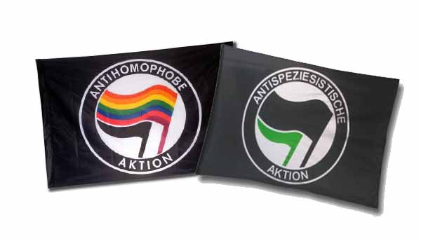 New flags 'Antihomophobe Aktion' and 'Antispeziesistische Aktion'