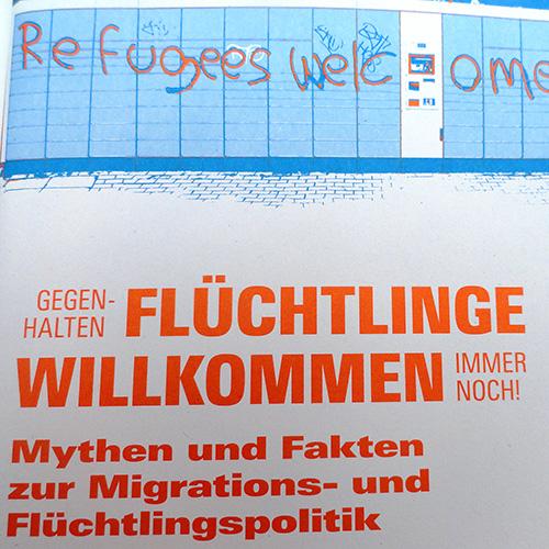 Ausschnitt aus dem Titelbild der Broschüre 'Flüchtlinge Willkommen' der Rosa-Luxemburg-Stiftung.