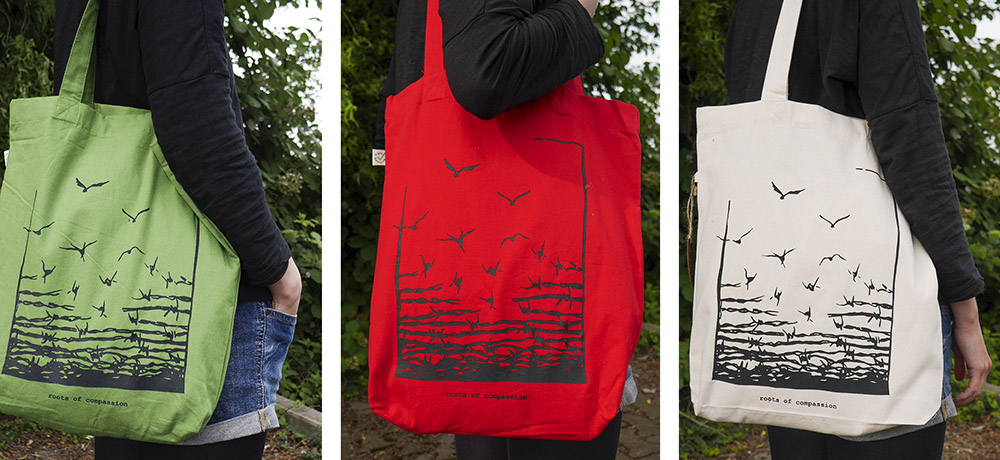 three pictures of the 'freedom' shopping bag in red, green and white