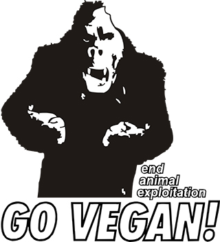 Picture of a gorilla and the demand to end animal exploitation