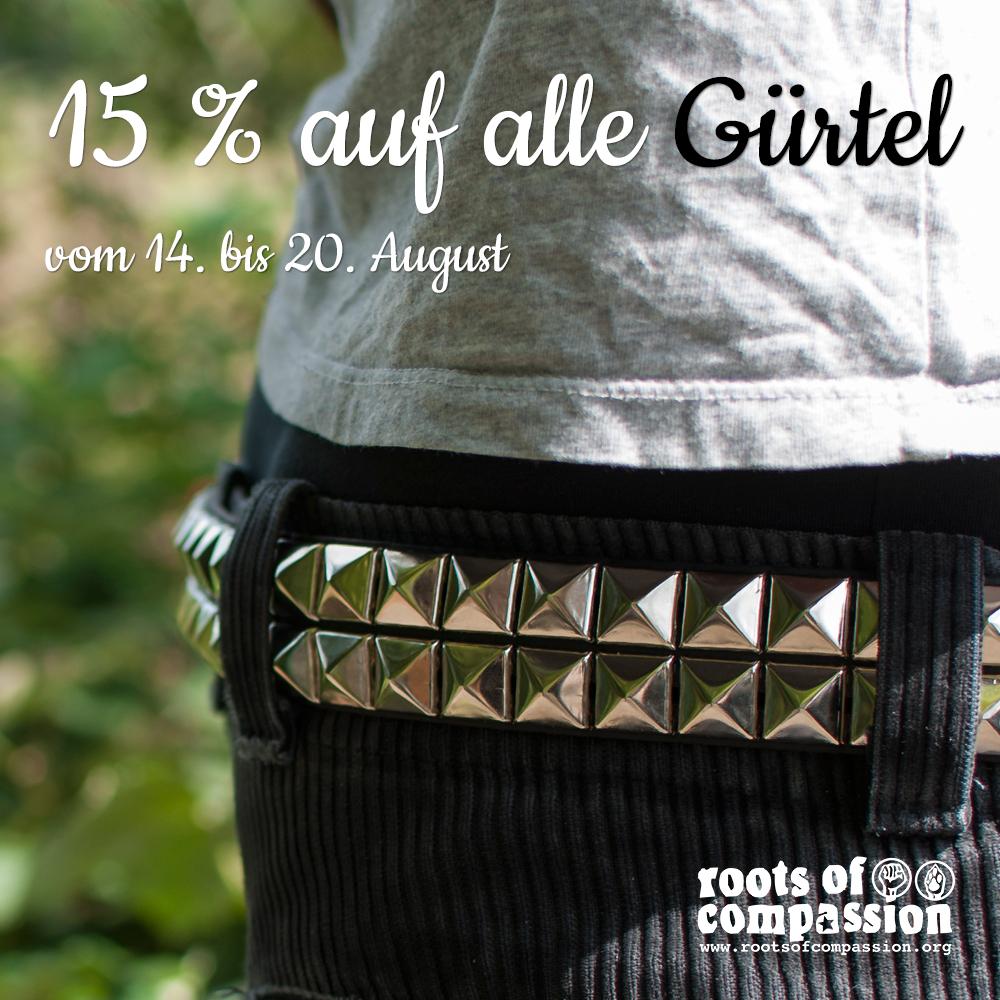 Diese Woche, bis 20.8., gibt's 15 % Rabatt auf alle Gürtel. Hier seht ihr den Nietengürtel in getragenem Zustand.
