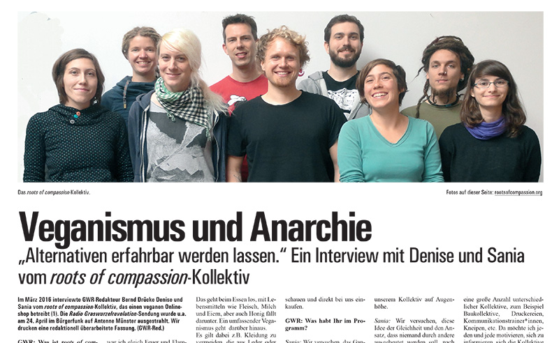 Ausschnitt aus dem Interview mit roots of compassion in der Graswurzelrevolution