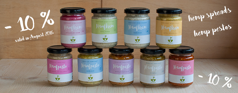 the new spreads and pestos from Hanfwerk! In this picture you can see them all!