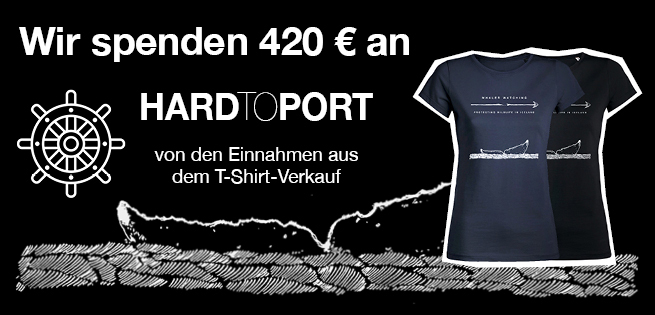 Picture saying that we've donated 420 e to Hard To Port. In the pic you can also see the two Hard To Port t-shirts
