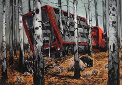 Postkarte von Hartmut Kiewert mit einem Tiertransporter, der zerstört in einem Wald steht.