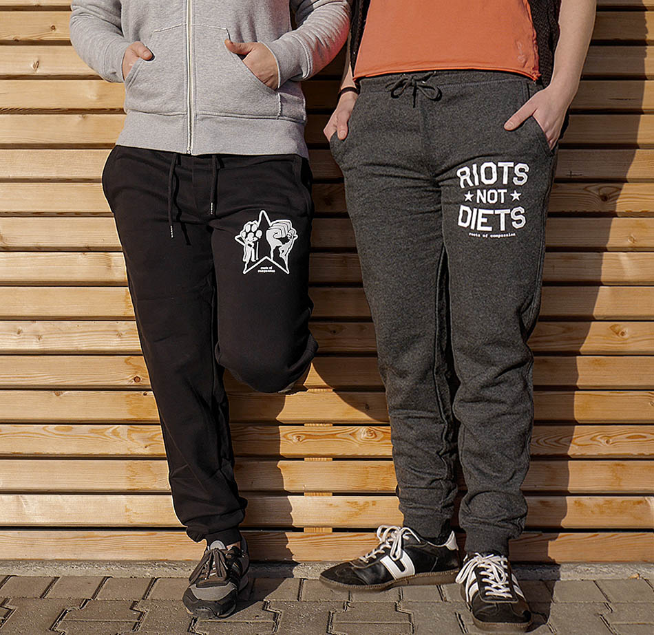 organic and fair sweatpants with the designs 'Riots Not Diets' or 'Paw, Fist, Star'