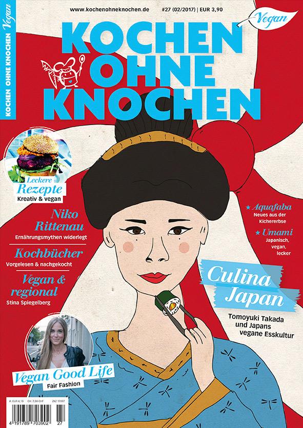 Das Cover der neuen Ausgabe der 'Kochen ohne Knochen' mit den Theman 'Vegan in Japan', Ernährungsmythen, Vegan regional und viel mehr