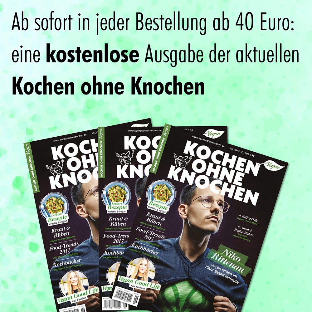 Abbildung der neuen Kochen ohne Knochen, mit Infotext, dass sie ab sofort allen Bestellungen ab 40 € gratis beigelegt wird