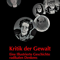 Ausschnitt aus dem Cover von 'Kritik der Gewalt' mit Zeichnungen verschiedener Philosoph*innen