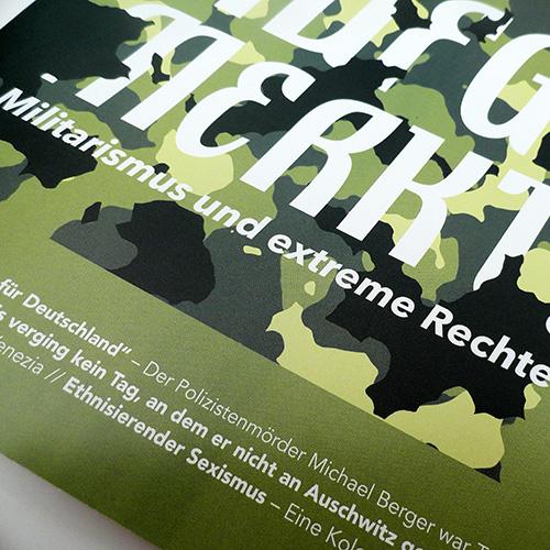 Ausschnitt aus dem Cover der neuen Lotta zum Thema 'Militarismus und extreme Rechte