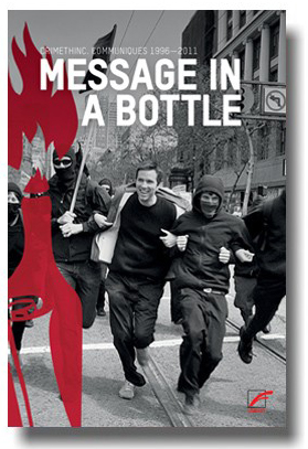 Abbildung des Buches message in a bottle, es wird eine Gruppe rennender Aktivisten gezeigt