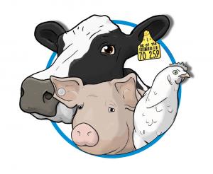 Logo von 'Mensch Tier Bildung' mit einer Kuh, einem Schwein und einem Huhn