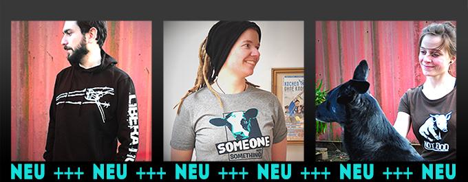 neue vegan-shirts: not food, someon not something, liberation