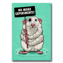 A mouse protests against animal experiments