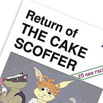 Ausschnitt aus dem Cover des Heftes 'Return of the Cake Scoffer', mit einer Comic Illustration von tierischen Personen