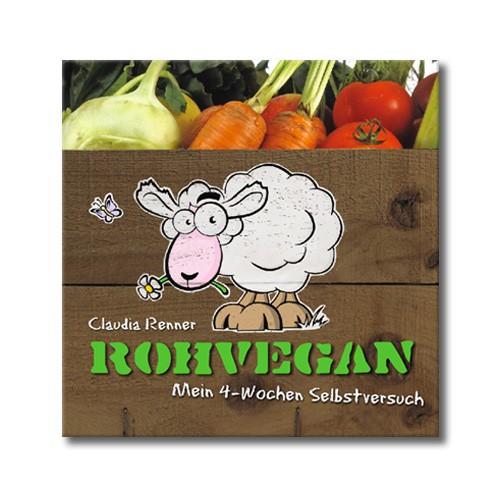 Abbildung des Buchcovers, es zeigt ein gezeichnetes Schaf auf einer Gemüsekiste