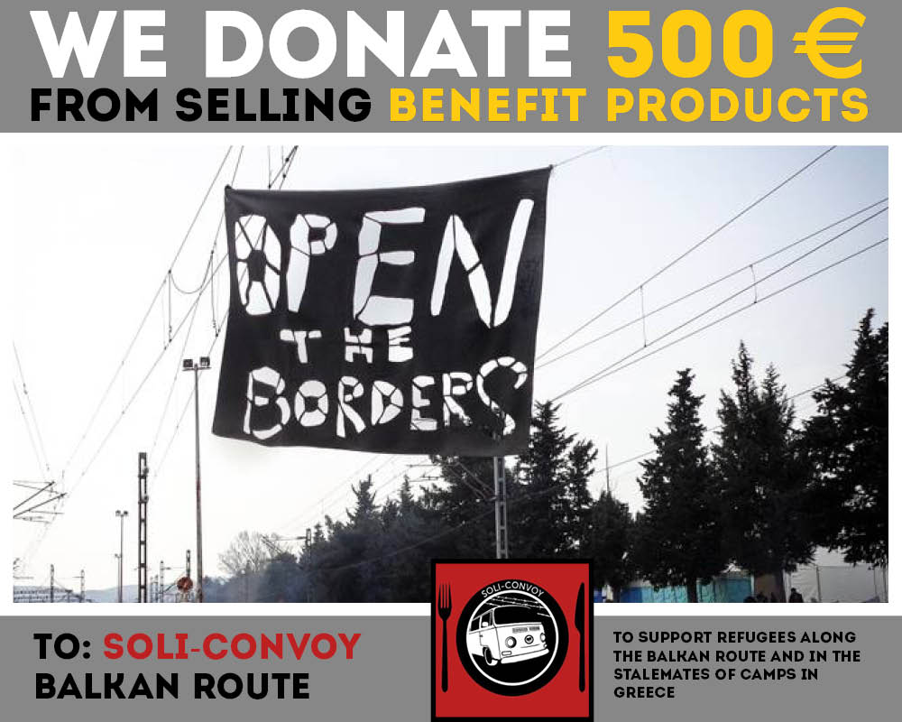 roots of compassion donates € 500 to the soli-convoy on the balkan route: IN the picture you see a banner in Idomenei saying 'Open the borders'.